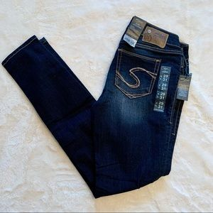 Silver Suki jeggins from Buckle. W:29 L:31